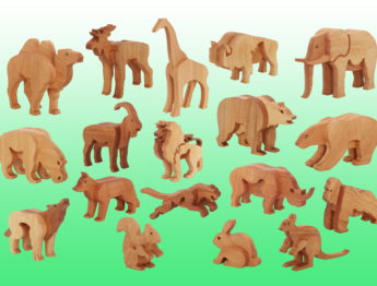 Набор дикие животные из дерева (18 фигур)