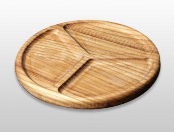 Тарелка для закусок трехсекционная 200х200х20мм из бука