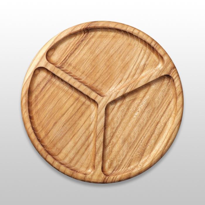 Тарелка для закусок трехсекционная из бука