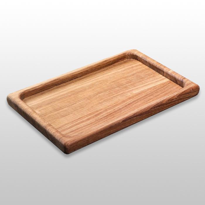 Классическое прямоугольное блюдо для подачи 300х200х20мм из бука