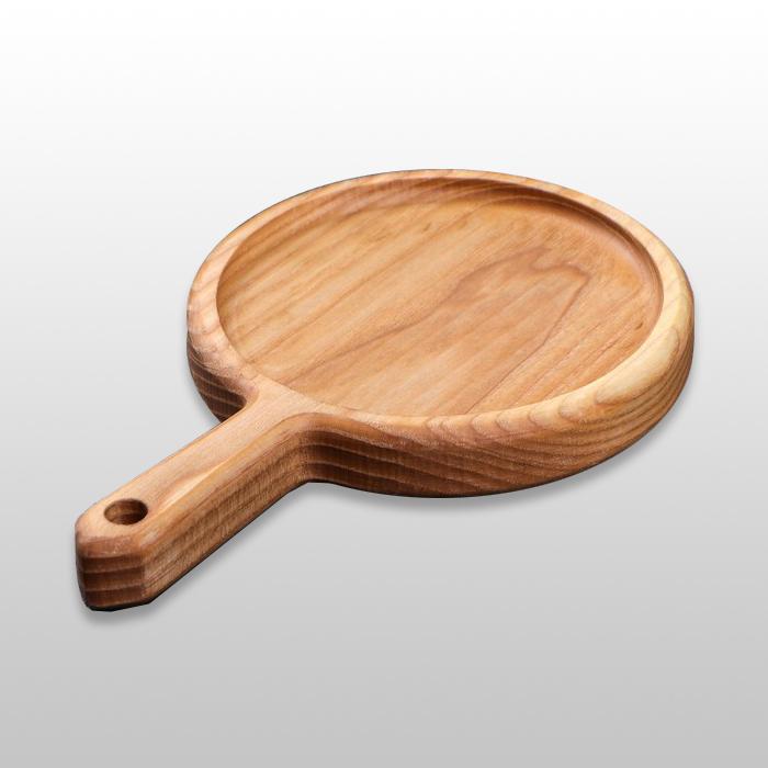 """Сервировочная доска для подачи блюд """"Сковородка"""" с ручкой 200х25мм из бука"""