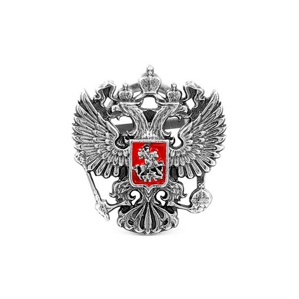 Значок герб России из серебра